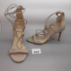 "Marc Fisher ""Ballad"" Cream Fabric Strappy Heel 6.5"